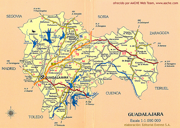 MAPA de la provincia de GUADALAJARA
